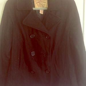 Black wool blend pea coat jacket
